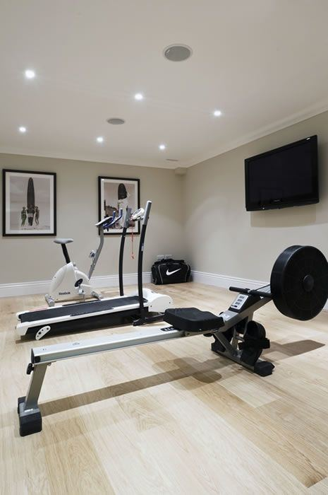 Basement workout & exercise room on a smaller scale