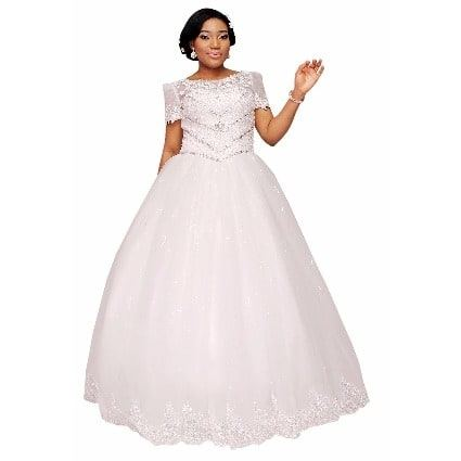 com SUPPLIES Half Sleeve Scoop Neck Appliques Beading Ball Gown Hot Wedding Dress Ball