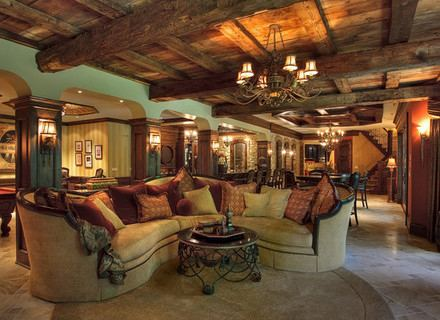 Rustic log cabin basement games room