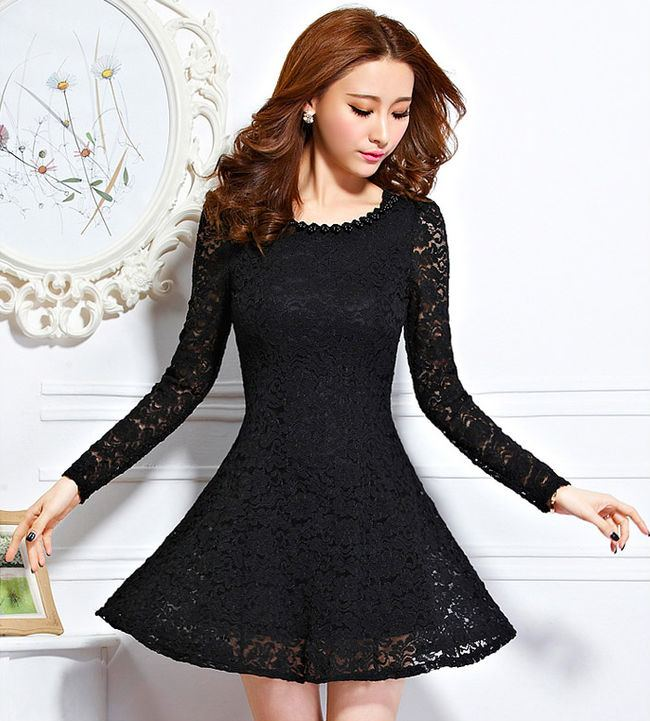 Long Sleeve Cocktail Dresses Sheer Neck Illusion Mini Lace Applique Short  Prom Dress Cheap Evening Gown Plus Size Formal Dress Party Wear Black  Dresses
