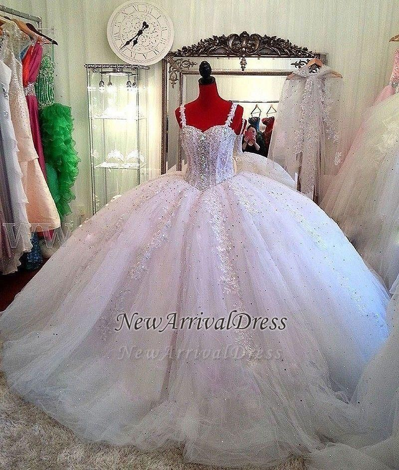 Fashion Sparkly Crystal Beads Princess New 2018 Ball Gown Wedding Dress  Short Sleeve Custom Made Bridal Lace Tulle High Quality Transparent Yellow  Wedding