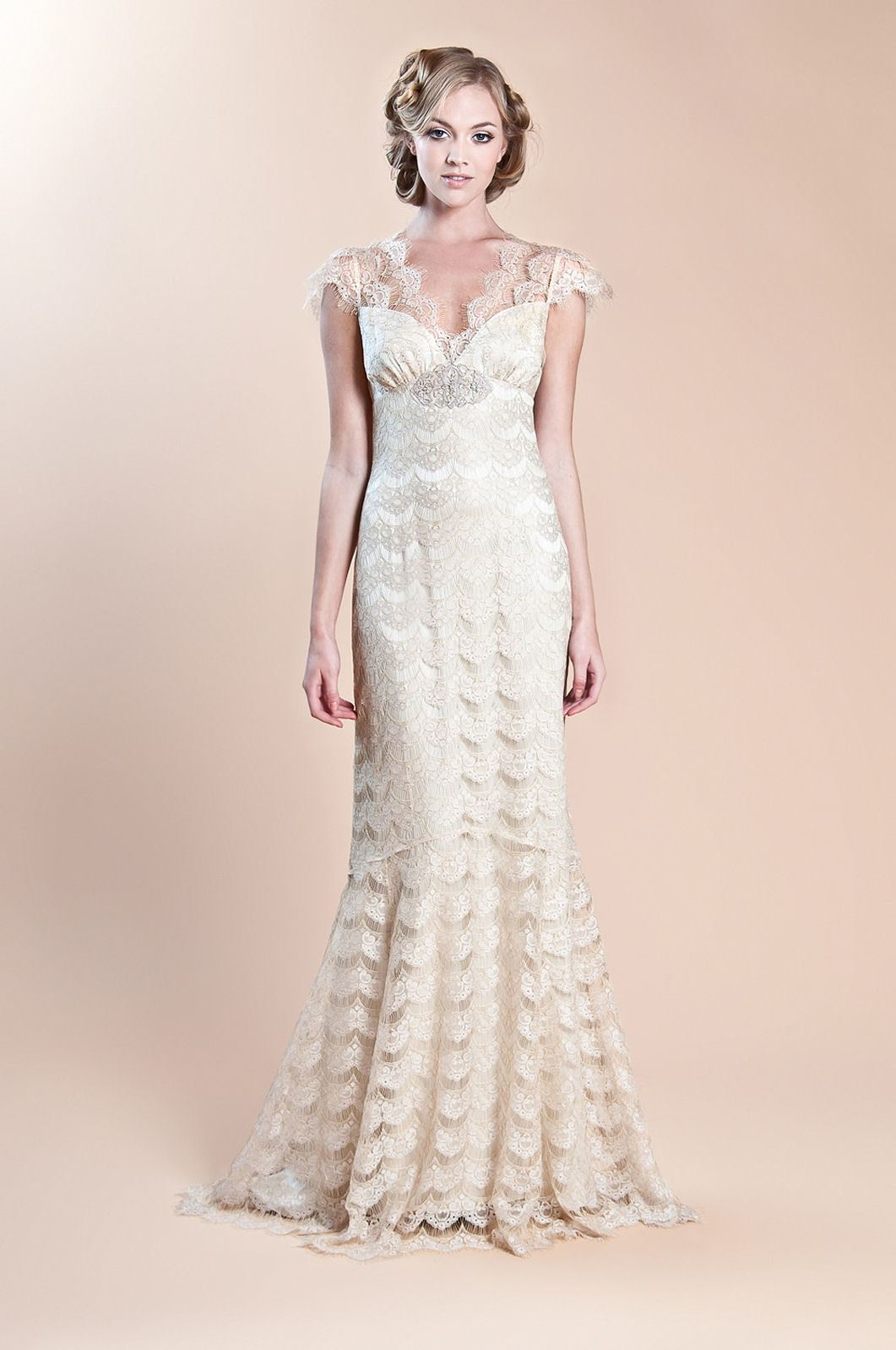 Claire Pettibone Papillon wedding dress with illusion embroidered butterfly  back, with floral details and sweeping train
