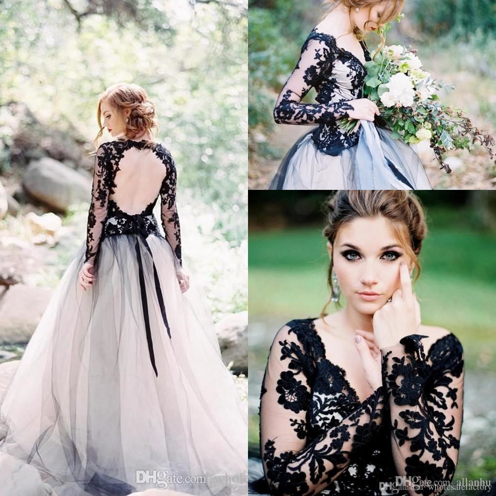 2018 New Designer Black A Line Prom Dresses Sexy V Neck Long Sleeves  Backless Formal Evening Party Gowns Dresses Wear Abendkleider Designer  Dresses Online