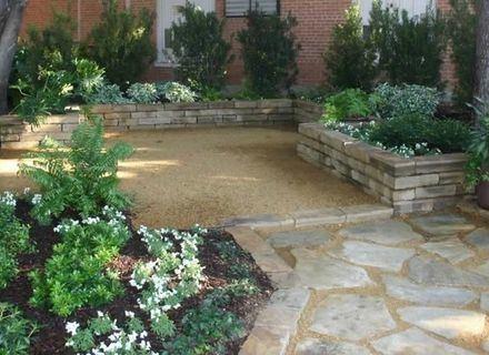 decomposed granite and raised planters