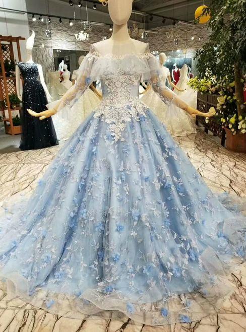 Hot Sale Appliques Straps Blue Hand Made Flower Princess Wedding Dresses  Custom Made Bridal Gowns WD2301 Princess Ball Gowns Princess Wedding Gowns  From