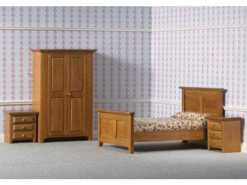 MagiDeal 1/12 Scale Wooden Floral Bed Mattress Pillow Set Dolls House  Bedroom Furniture Kids Pretend