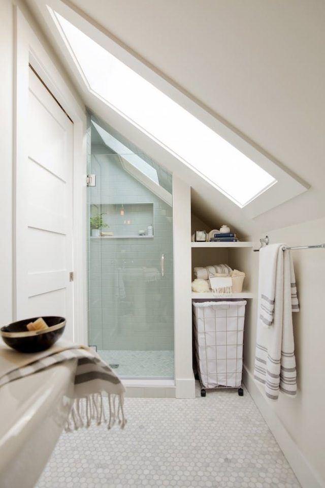 Attic Bathroom Shower Bathrooms With Sloped Ceilings And Bathroom Ideas