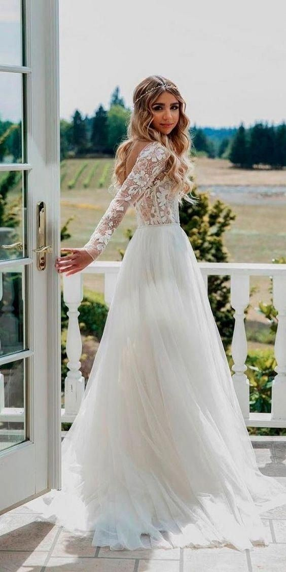 Long Sleeve Bohemian Lace Wedding Dress White Ivory  Country