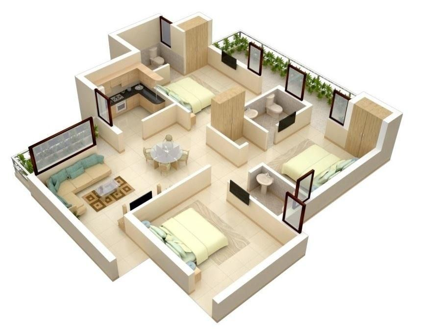 NZB70 motu three bedroom house plans
