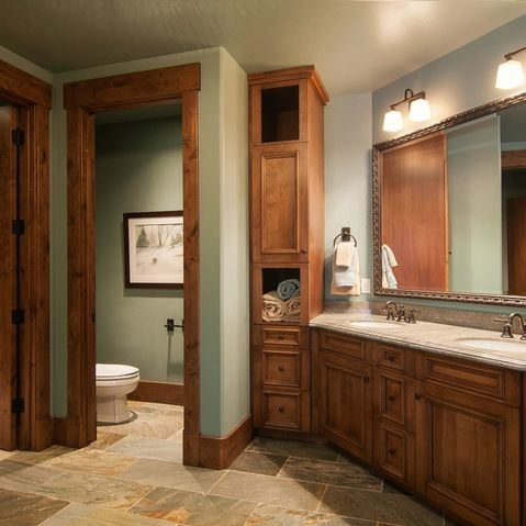Love the contrast ceiling trim as well as shower arch