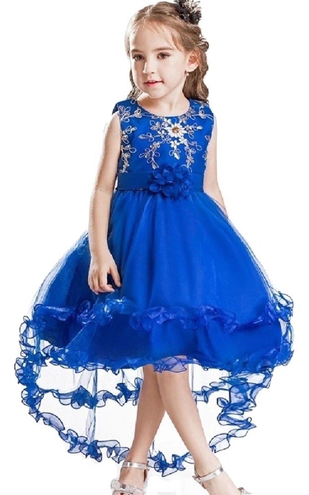 Colourful Pink Blue Sequins Princess Wedding Gown