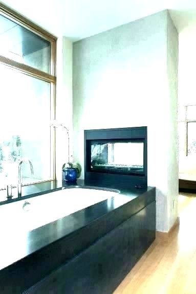 electric fireplace in bathroom