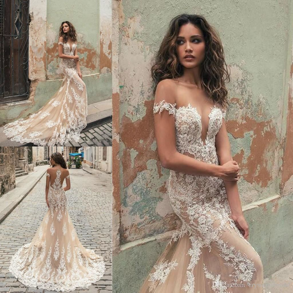 Berta 2018 Champagne Mermaid Wedding Dresses Off Shoulder Sheer Jewel Neck Lace Appliqued Short Sleeves Plus Size Bridal Gowns Court Train Bridal Shop
