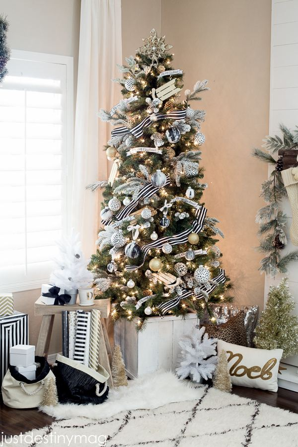 Silver and Gold Christmas Tree · Gold Angel Tree Topper · Vermont White  Spruce