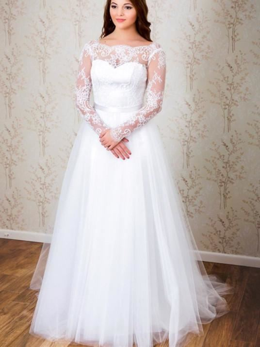 Discount Amazing Tulle Bateau Neckline See Through White A Line Wedding Dresses With Beaded Lace Appliques Long Sleeves Bridal Dress Online Dresses Shopping