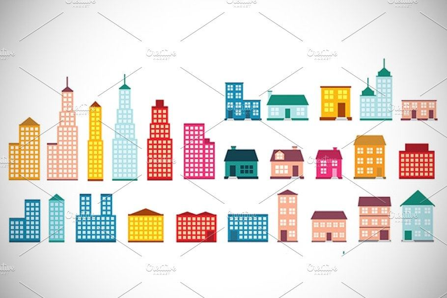 vector illustration collection of  house and building icons