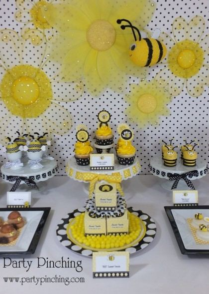 A pink, black and yellow Bumble Bee 1st BeeDay Party with amazing  decorations and treats! See more party planning idea at CatchMyParty