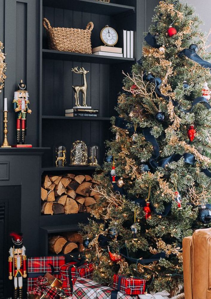 Royal blue, white and silver christmas tree