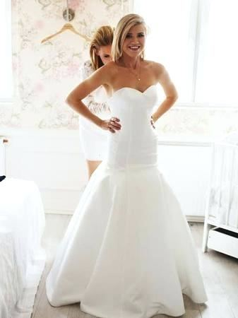 99 Petite Beaded Lace Wedding Dress with Cap  Sleeves 12966 David's Bridal 7T9612 10133939