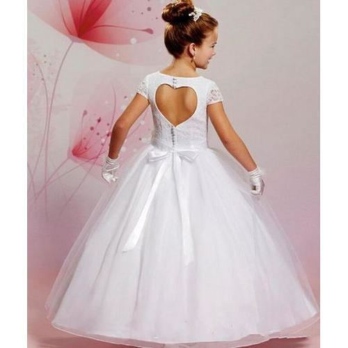 2019 Designer White First Holy Communion Dresses Organza Lace Applique  Beaded Jewel Neck Bow Sash Tea Length Holy Communion Gowns First Communion