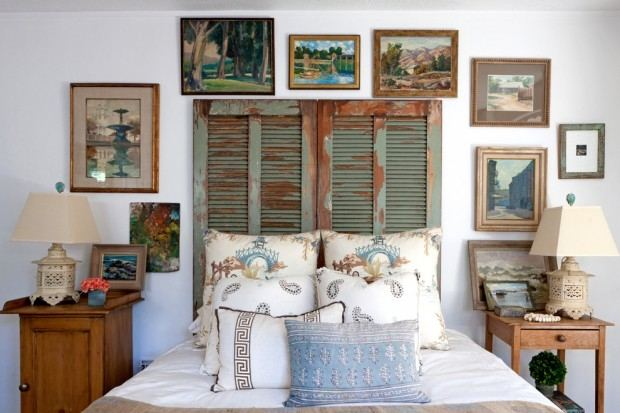 Cover a wall with vintage shutters