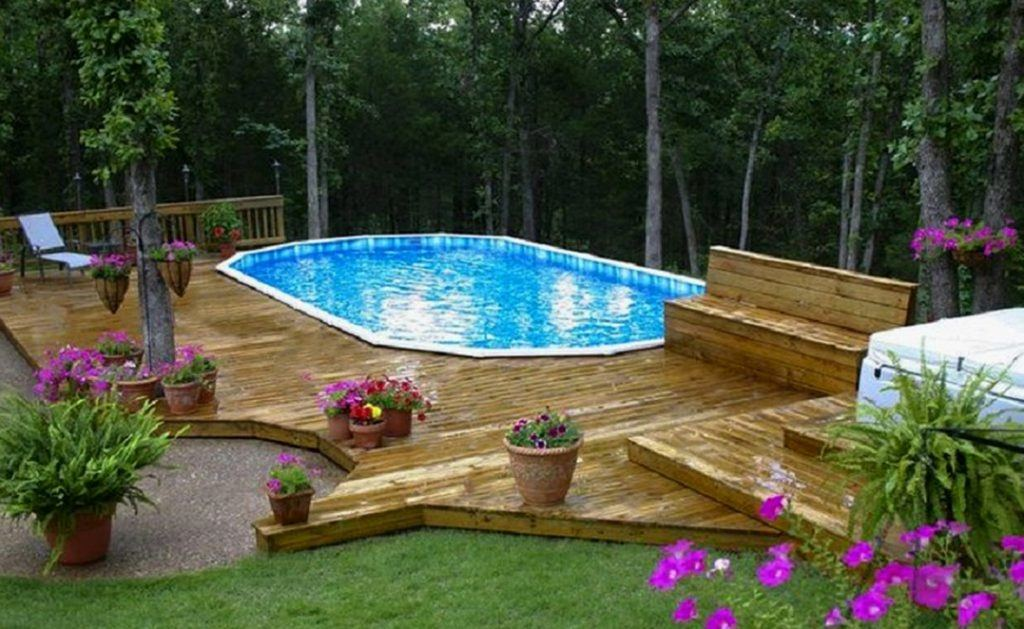 We hid the pool skimmers underneath smaller pieces of bluestone and installed a large