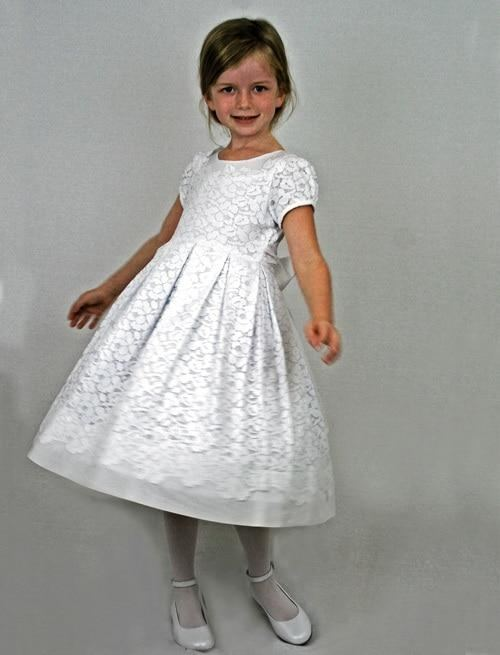 Hot Sale Ball Gown Holy Communion Dresses Custom Made White Flower Girl  Dresses For Wedding Lace Appliques Beaded Pageant Gown Mz Kids Flower Girl  Dresses