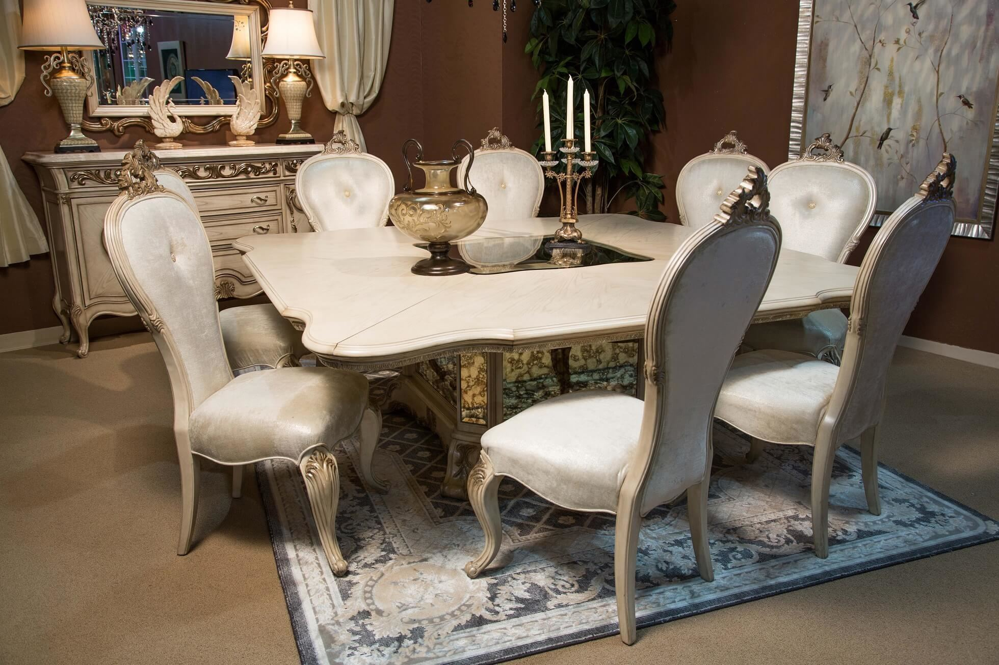 Michael Amini Villa Valencia Traditional Round Oval Table Chairs Dining