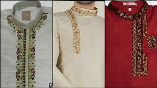 Mens hand embroidery work on high neck, left shoulder and cuffs kurta pyjama made from white color pure linen fabric