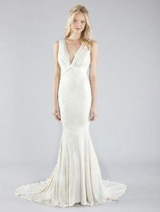 Nicole Miller Shades Of Ivory Satin Double Face Halter Gown Antique White  Sexy Wedding Dress Size
