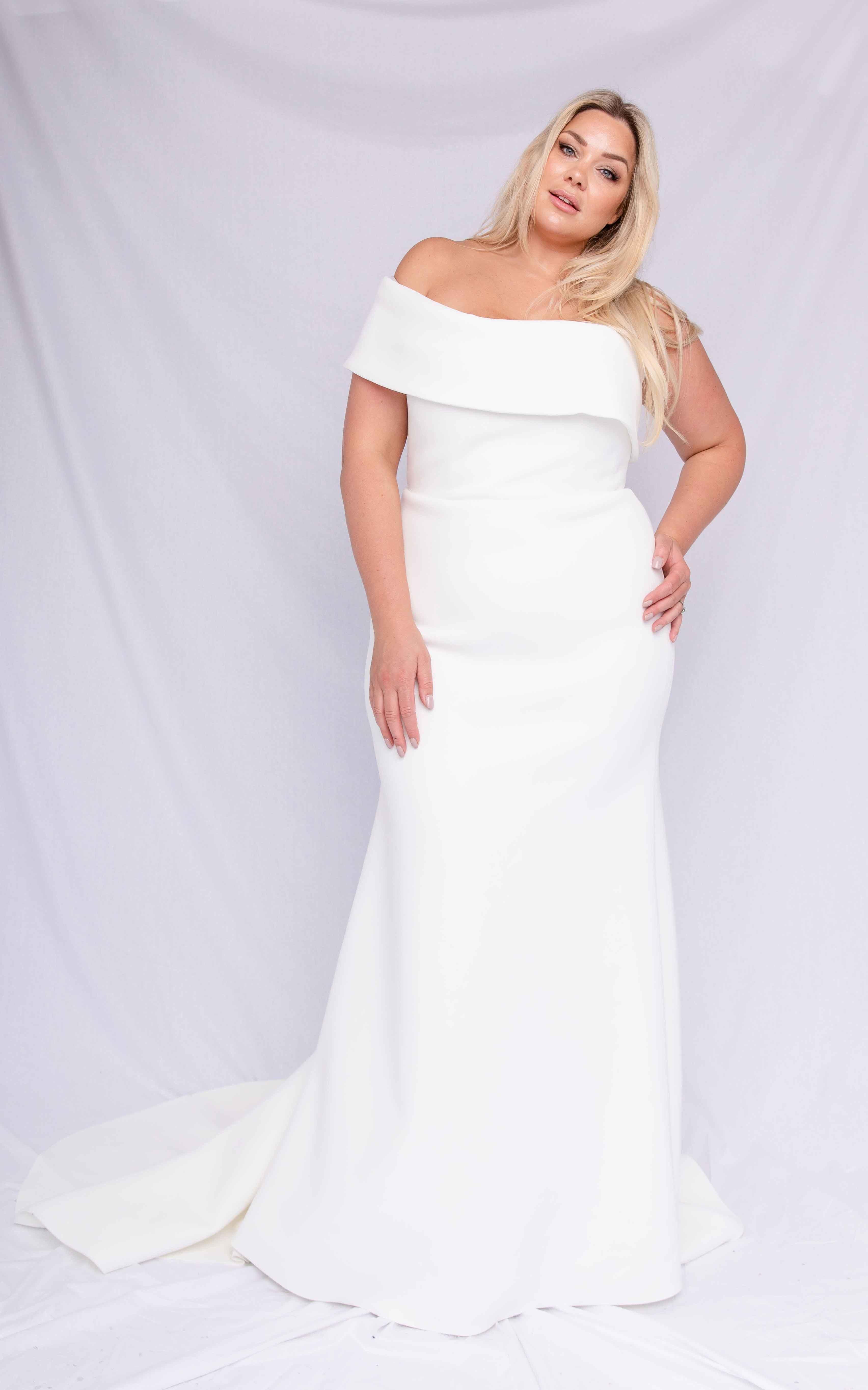 Discount Bateau A Line Satin Shiny Sweep Train Simple Classic Wedding Dress White Custom Made Wedding Gown Wedding Dresses Under 300 Wedding Dresses Usa