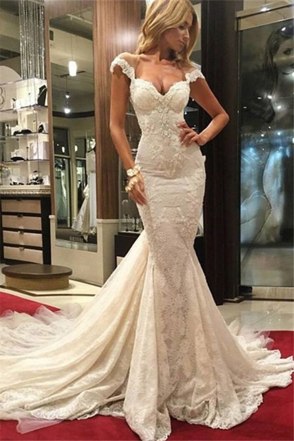 Discount 2019 Country Wedding Dresses A Line Sweetheart Short Sleeve Sweep Train Bridal Gowns With Lace Appliques Illusion Backless Wedding Gowns Wedding