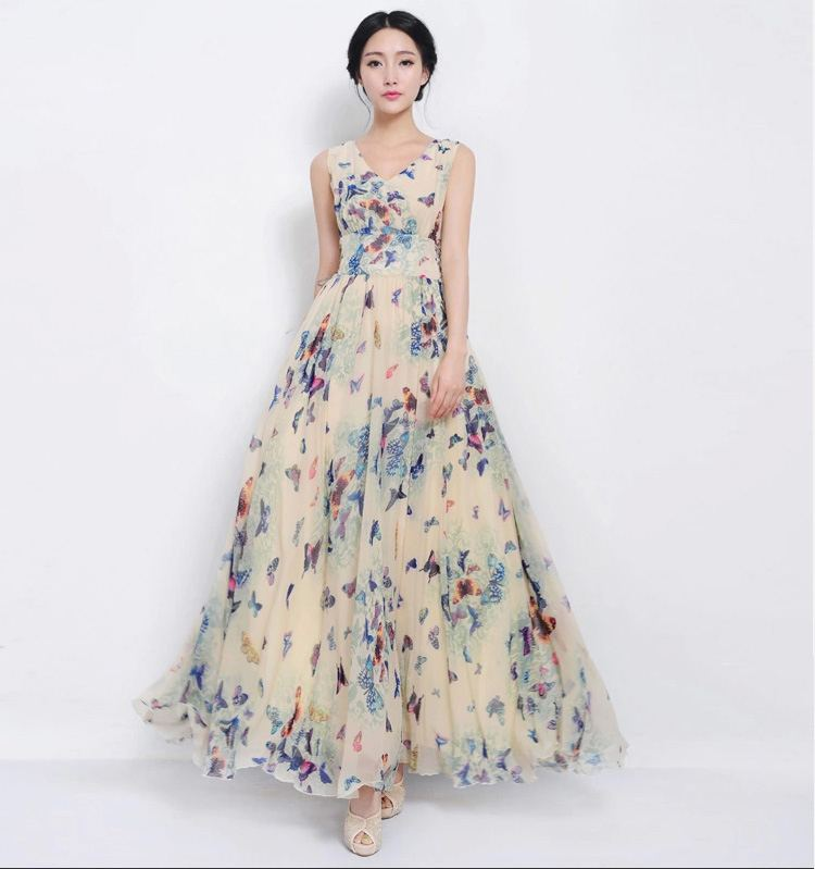 2019 High Quality Runway Fashion Maxi Dress Women'S Elegant Lantern Sleeve O Neck Retro Floral Printed Maxi Long Dress From Alicejing, $53