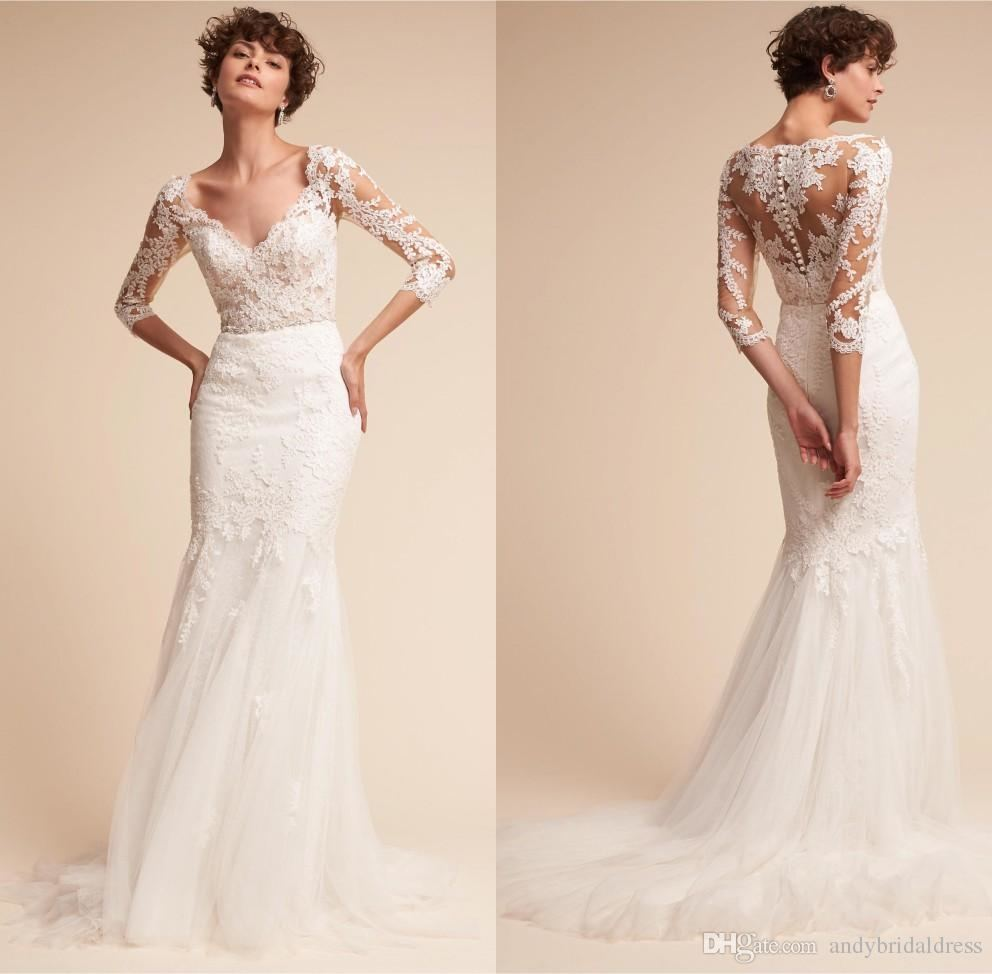 2017 Elegant Boho Lace Mermaid Wedding Dresses Cap Sleeve V Neck Button Covered Illusion Back Bridal Gowns Tiered Appliqued Wedding Gowns Lace Luxury