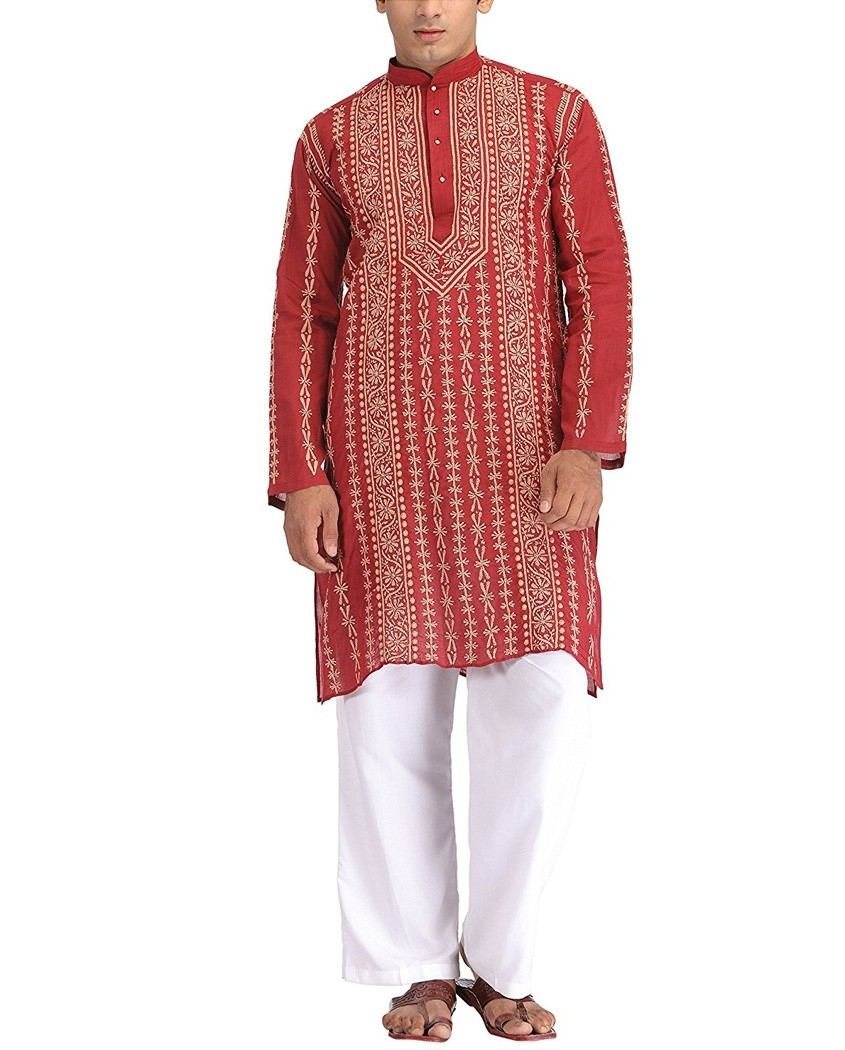 Lucknow Chikan Hand Embroidered Mens Kurta White on White Cotton $29