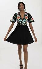 ASOS Sheer And Solid Metallic Pleated Midi Dress