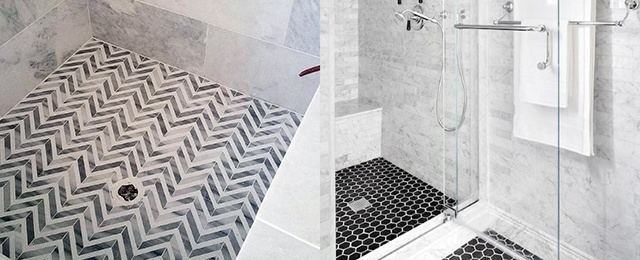 A black floor tile, white wall tile and shimmery accent tile are a winning  combination