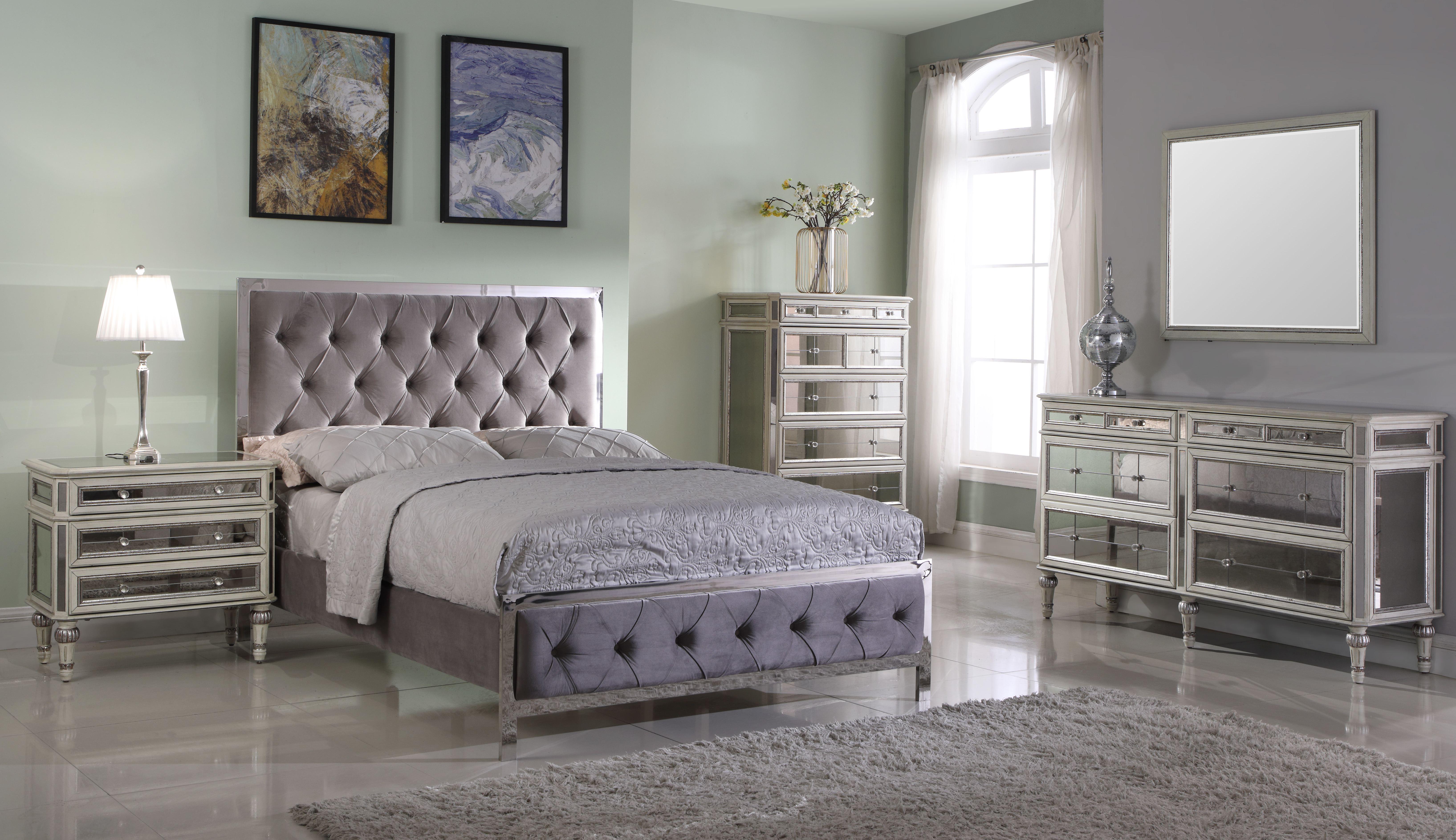 Image is loading Stella Modern Pewter Velvet Fabric Bed Frame 4ft6